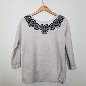 Anthro Saturday | Sunday Grey + Floral Sweatshirt